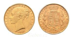 Sovereign 1869 Victoria Young Head Shield č. 29 PCGS AU 55