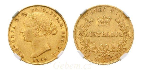 Sovereign 1864 (sy) ! Victoria Young Head - VZÁCNÝ