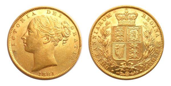 Sovereign 1881 M Victoria - Young Head / Štít !