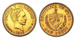2 Pesos 1916 ! CUBA Vzácné Nádherné