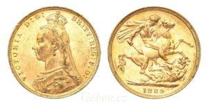 Sovereign 1889 London Victoria - Nádherný stav MS 61