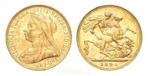 Sovereign 1894 London Victoria - Nádherný stav MS 61