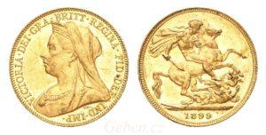 Sovereign 1899 LONDON Královna Victoria - Krásný stav UNC