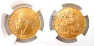 Sovereign 1911 C král George V. CANADA - Super stav MS 63 !