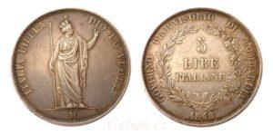 5 LIRA 1848 M - Krásná a vzácná
