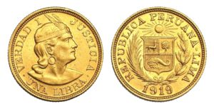 1 LIBRA 1919 Peru INDIAN - Vzácná !