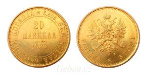 20 MARKKAA 1880 Alexander II. - Velmi vzácná !