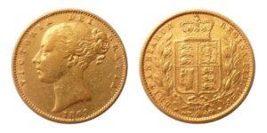Sovereign 1869 Victoria Young Head Shield č. 10