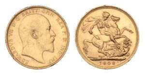 ZLATÝ Sovereign 1908 Melbourne - Král EDWARD