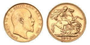 ZLATÝ Sovereign 1906 Melbourne - Král EDWARD