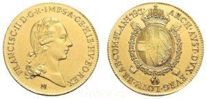 Vzácné zlaté Sovráno - Souverain d'or 1793 M ! František II.